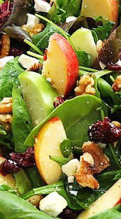 Salad Recipes Apple-Cranberry-Walnut Salad with Crumbled Feta & Honey Salad Bar, Soup And Salad, Vegetarian Recipes, Cooking Recipes, Healthy Recipes, Cranberry Walnut Salad, Apple Walnut Salad, Cranberry Fruit, Apple Salad