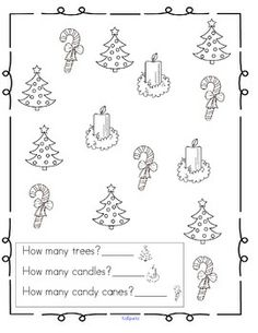 63 number sense activity pages for December for Pre-K and K,  print and go, all in b/w.