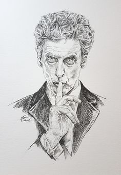 Peter Capaldi as the 12th Doctor. Pen & Ink illustration drawn by Doris. #DrWho  copyright 2016
