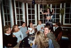 intimate party The Royal Society had to sit in a separate room when they ate meze and were entertained by belly dancer Camilla at the Turkish restaurant Merhaba yesterday. The birthday child Carl Philip sat between his sisters and opposite girlfriend Emma Pernald - the picture obscured by the evening's host Patrick Sommerlath, who addresses the camera and girlfriend Camilla Lunden.