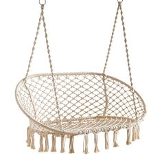 We've paired easy-living leisure with freewheeling fun in our handcrafted double saucer swing. Its sturdy wrought iron frame is dressed up with white ropes that have been knotted macrame-style to form a laid-back design. Papasan Chair, Hammock Chair, Swinging Chair, Diy Chair, Swing Chairs, High Chairs, Hammock Stand, Blue Chairs, Swivel Chair