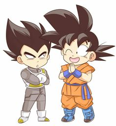Guys share this post as much as u can. Goku E Vegeta, Son Goku, Dbz, Anime Chibi, Chibi Characters, Anime Japan, Kawaii Art, Awesome Anime, Dragon Ball Z