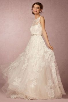 lace wedding dress with sheer floral overlay | Fleuretta Gown from BHLDN
