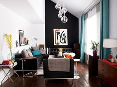 . love the contrast of the black wall, and i really like the curtains too. a bright montreal retreat. / sfgirlbybay