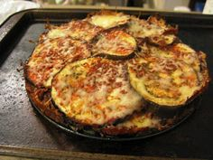 Eggplant Bake....  You can easily use zucchini instead of eggplant, add sliced mushrooms or tomatoes, increase the cheese