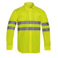 CAMISA ALTA VISIBILIDAD AMARILLA MANGA LARGA ADEEPI.  Camisa manga larga en alta visibilidad Tejido popelín 65%poliéster - 35% algodón. Dos bolsillos con tapeta y puño con botón. Con reflectante en tórax y espalda.