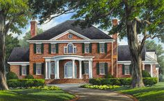 Plan Grand Colonial House Plan The stately brick exterior of this Colonial house plan is a welcome addition in any neighborhood. Luxury House Plans, Best House Plans, Dream House Plans, House Floor Plans, Dream Houses, Colonial House Exteriors, Colonial House Plans, Architectural Design House Plans, Architecture Design