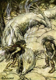 The dwarfs quarelling over the body of Fafner Arthur Rackham