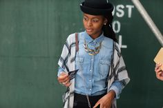 The NYFW Street Style Looks That Truly Stunned #refinery29  http://www.refinery29.com/2014/09/73987/new-york-fashion-week-2014-street-style-photos#slide10  Buttoned-up denim and a great bowler hat.