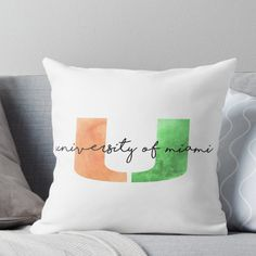 University of Miami Throw Pillow The Gables, University Of Miami, Dorm Life, Canes, South Florida, Dorm Room, Back To School, Classic T Shirts, Cricut