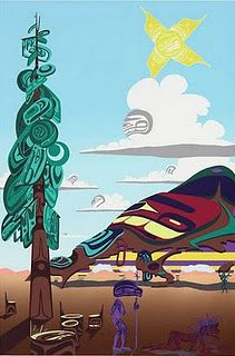 _Lawrence Paul Yuxweluptun, Clear Cut to the Last Tree, acrylic on canvas Vancouver Art Gallery, Native American Artists, Canadian Art, Indigenous Art, Aboriginal Art, Native Art, Famous Artists, Landscape Art, Contemporary Artists