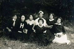 """This is truly a one of a kind photo that hasnt been seen in over 100 years. This is a 1910 ""Alpha Chapter"" photo of Alpha Kappa Alpha Sorority. From Left to Right: Ethel Jones Mowbray, Norma Boyd, Alice Murray, Joanna Berry Shields (in the hat), Sarah Meriweather Nutter (center), Carrie Snowden, and Harriet Terry."""