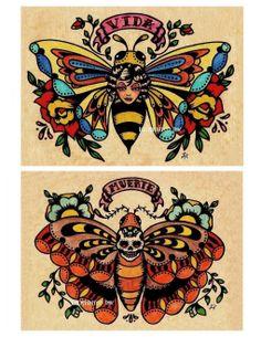Old School Tattoo VIDA Bee Lady and MUERTE Skull Moth -  5 x 7 Prints Set - Free Shipping