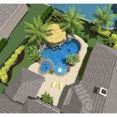 Having a pool sounds awesome especially if you are working with the best backyard pool landscaping ideas there is. How you design a proper backyard with a pool matters. Patio Tropical, Tropical Pool Landscaping, Backyard Pool Designs, Swimming Pool Designs, Backyard Landscaping, Landscaping Ideas, Backyard Pools, Oberirdische Pools, Cool Pools