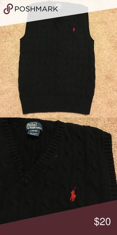 Polo Boys Black v-neck sweater vest Worn twice. Excellent condition. Large 14/16 Polo by Ralph Lauren Shirts & Tops Sweaters