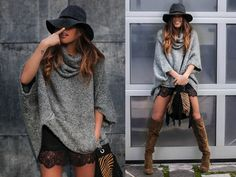 Mango Fedora Hat, Pull & Bear Oversize Turtleneck Sweater, Zara Lace Mini Skirt, Zara Xl Suede Boots, Rock And Love Bilbao Fringed Animal Print Handbag