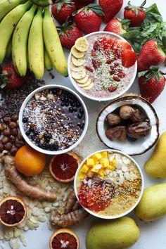Trio of smoothie bowls- orange mango turmeric almond, acai date fig coconut, and strawberry basil banana cashew Vegan Smoothies, Fruit Smoothies, Smoothie Recipes, Coconut Smoothie, Healthy Desayunos, Healthy Snacks, Healthy Drinks, Healthy Recipes, Superfoods