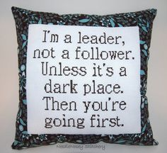 Funny Cross Stitch Pillow Brown Pillow Leadership by NeedleNosey, $23.00