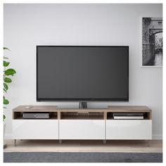 BESTÅ TV bench with drawers, oak effect, Selsviken/Stallarp high-gloss/white, cm - IKEA Ireland Bench With Drawers, Large Drawers, Tv Unit Furniture, Ikea Furniture, Furniture Stores, Besta Tv Bank, Tv Bench, Muebles Living, Ikea Family