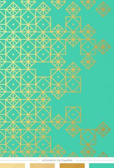 Turquoise and gold, art print by Cat Coquillette    Creature Comforts Blog