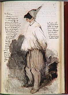 """Actor Theatre San Carlino, Jules de Goncourt, Writer """"Book of Goncourt: Journey to Italy"""" Photo credit: RMN (Musée d'Orsay) / Jean-Gilles Berizzi Paris, Louvre Artist Journal, Artist Sketchbook, Moleskine, Sketchbook Inspiration, Journal Inspiration, Art Et Illustration, Collages, Visual Diary, Mail Art"""