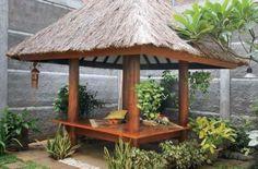 Gazebo Minimalis 2 x 2 Kayu Glugu Atap Sirap Alang - ALang Bali - Perabot Jati Large Gazebo, Large Backyard, Backyard Patio, Back Gardens, Small Gardens, Hot Tub Gazebo, Garden Crafts, Garden Ideas, Luxury Decor