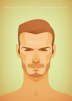 Another illustration by Stanley Chow. I'm not even a soccer fan. But I can't deny that this illustration of David Beckham isn't awesome. This guy pays great attention to the nuance and gesture of his subjects. Art And Illustration, Portrait Illustration, Vintage Illustrations, Vector Portrait, Portrait Art, Portraits, Stanley Chow, David Stanley, Football Art