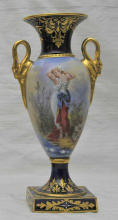 FINEST ! Dresden, Hand-Painted Portrait Vase, signed Richter Dresden Porcelain, Fine Porcelain, Porcelain Ceramics, Porcelain Doll, China Painting, Ceramic Painting, Dresden China, Beautiful Nature Pictures, Victorian Dolls
