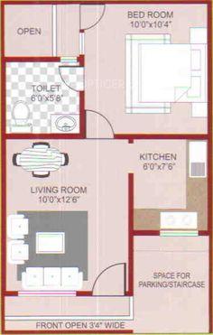 Nikhil Magnolia Green First Floor Plan (1BHK+1T (400 sq ft) 400 sq ft)