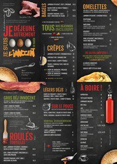 Menu déjeuners | Café L'Innocent | Design graphique: miouze.ca | | Breakfast… Cafe Menu Design, Food Menu Design, Food Poster Design, Menu Café, Tapas Menu, Dinner Recipes For Kids, Healthy Dinner Recipes, Kids Meals, Omelettes