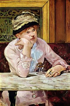 Plum Brandy, 1877 - Édouard Manet (1832-1883) French painter, one of the first 19th-century artists to approach modern & postmodern-life subjects, & a pivotal figure in the transition from Realism to Impressionism. His early masterworks, The Luncheon on the Grass (Le déjeuner sur l'herbe) & Olympia, engendered great controversy & served as rallying points for the young painters who would create Impressionism. Today, these are considered watershed paintings that mark the genesis of modern…