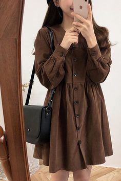 Cute Sweet Women Fashion Long Sleeve V Neck Vintage Dresses Fashion 101, Womens Fashion, Preppy Dresses, Everyday Items, I Dress, Dress To Impress, Black And Brown, Vintage Dresses, V Neck
