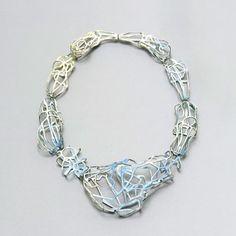 Carolina Gimeno  Necklace: Of the Serie III, Draw the Mist 2010  Copper, vitreous enamel, silver  Ø 15 cm