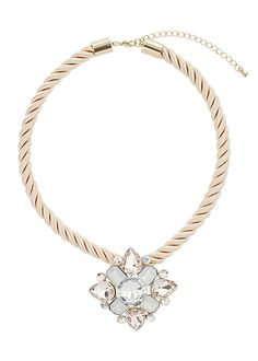 Multi Facet Bead Flower Pendant Necklace - Matalan