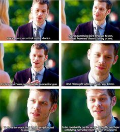 Klaus talking about a hummingbird to Caroline I loved this<3