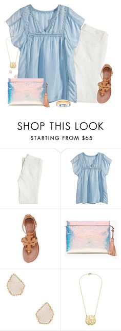 """Headed to the beach!"" by isabelrohrer ❤ liked on Polyvore featuring Paige Denim, Calypso St. Barth, Tory Burch, J.Crew, Kendra Scott and Kate Spade"