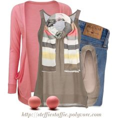 """Pink Coral, Taupe & Stripes"" by steffiestaffie on Polyvore"