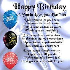 92 Best Birthday Son In Law Images Birthday Cards Birthday Wishes