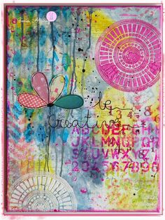 Taller Mix-media art journal page inspiration in pink and blue with stencil