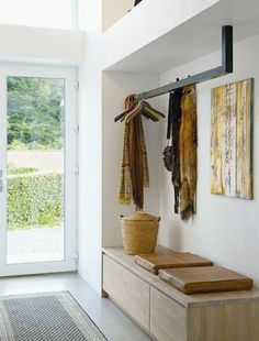 Entry Bench with Storage and Coat Hooks . Entry Bench with Storage and Coat Hooks . Hallway Bench, Entryway Bench Storage, Entry Bench, Bench With Storage, Hallway Ideas, Entryway Ideas, Diy Storage, Hallway Cabinet, Storage Benches