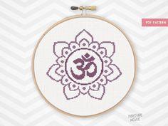 PURPLE OM FLOWER counted cross stitch pattern zen meditation home decor xstitch gif easy aum lotus mandala symbol yoga mantra decoration by PineconeMcGee