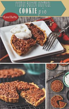 Peanut Butter Oatmeal Cookie Pie via @tidymom + all sorts of Pie recipes for the #lovethepie party