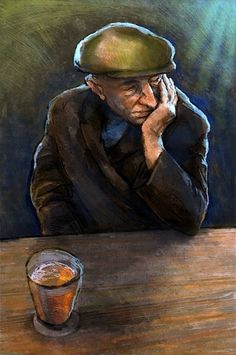 Jeremy Norton, Old man drinking - illustration