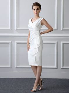 Sheath/Column Tea-length Satin V-neck Mother of the Bride Dress with Short Sleeve