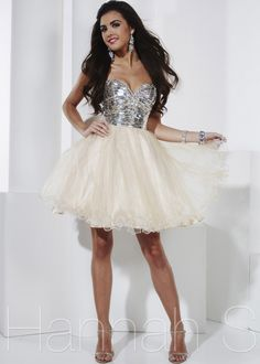 2014 Hannah S 27835 Silver Champagne Prom Dress