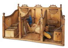 French Wooden Toy Stable With Rare Names for Horses 900/1500