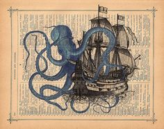 Octopus attacking Galleon Ship Art Print on a vintage Dictionary Antique Book Page blue octopus ship Art Print. Steampunk Octopus, Ship Drawing, Cover Up Tattoos, Ship Art, Antique Books, Deco, Sculpture Art, Art Projects, Art Photography