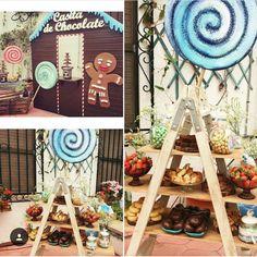 Decoracion Hansel & Gretel, fuentes de chocolate y dulces
