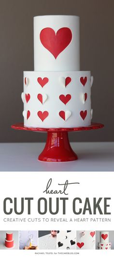 How to make a heart cutout (with free template for dl)cake | by Rachael Teufel for TheCakeBlog.com