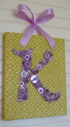 Baby Nursery Button Monogram Wall Art, Children Wall Art, Lavender Buttons on Your Choice Fabric, Unique Baby Shower Gift via Etsy